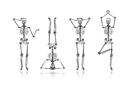 обращается: Скелет эскизы для вашего дизайна Иллюстрация