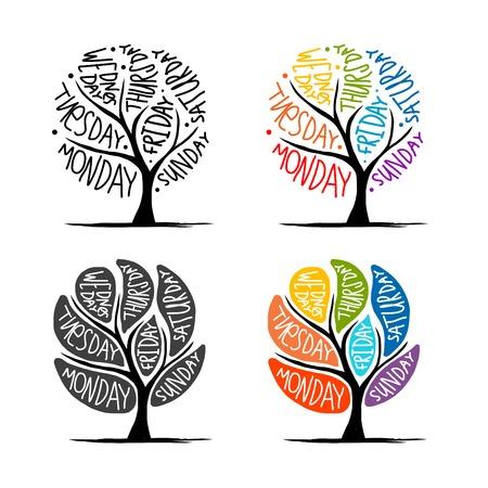 conception d'arbre d'art avec 7 jours de la semaine pétale