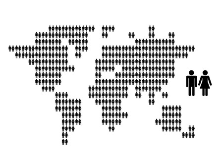 population: World map made from people icons for your design