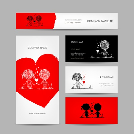 Couple kissing, valentine cards for your design Vector