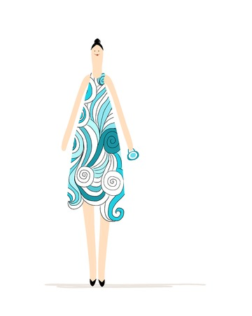 Beautiful woman in blue dress for your design Vector
