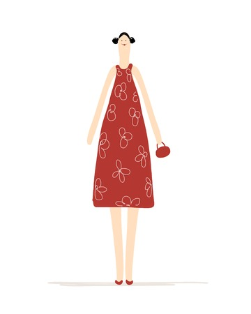 Beautiful woman in red dress for your design Vector