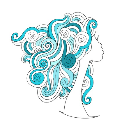 abstract portrait: Wavy hairstyle, female head for your design