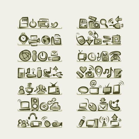 IT icons sketches on shelves for your design Vector