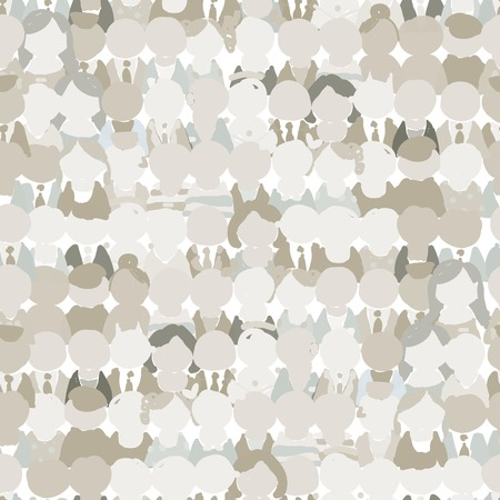 Abstract crowd of peoples, seamless pattern for your design Vector