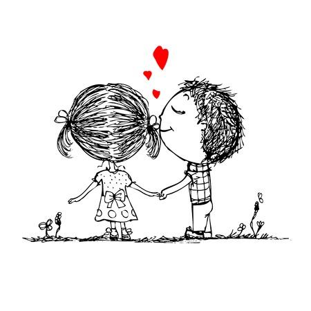Coppia in amore insieme, schizzo di San Valentino per il vostro disegno