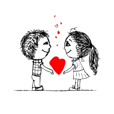 Couple in love together, valentine sketch for your design Vector