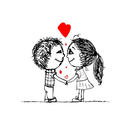 cute cartoon boy: Couple in love together, valentine sketch for your design
