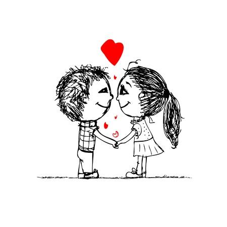 pareja de adolescentes: Pareja en el amor juntos, croquis san valent�n para su dise�o