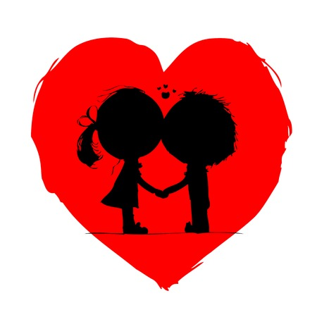 cute boy: Couple kissing, valentine sketch for your design