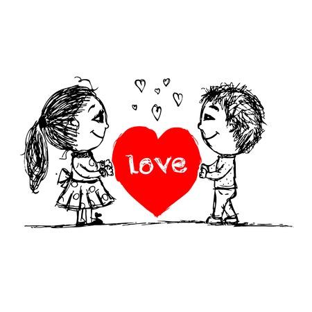 Pareja en el amor juntos, croquis san valentín para su diseño Foto de archivo - 27321783