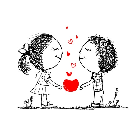 Couple in love together, valentine sketch for your design Stock fotó - 27321785