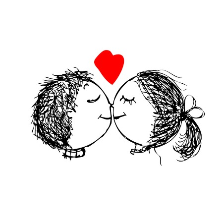 kiss couple: Couple in love together, valentine sketch for your design