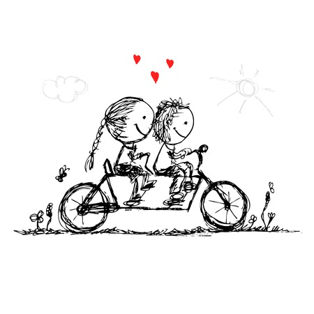 Couple cycling together, valentine sketch for your design Vector