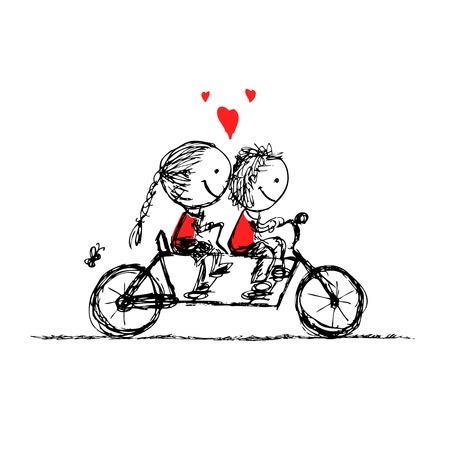 niños en bicicleta: Pareja en bicicleta juntos, croquis san valentín para su diseño Vectores