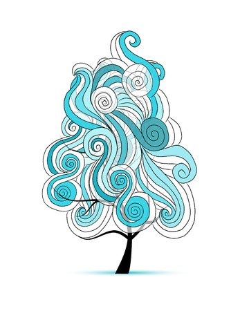 flowing hair: Abstract wavy tree for your design