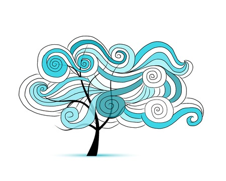 hair ornament: Abstract wavy tree for your design