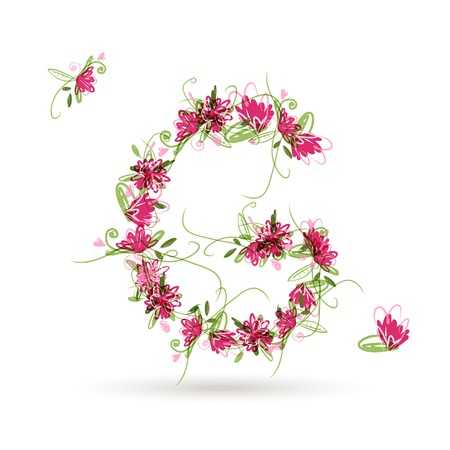 Floral letter G for your design Vector