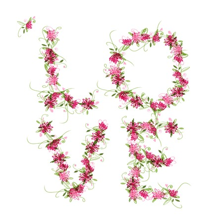 Floral love, word made from flowers for your design Vector
