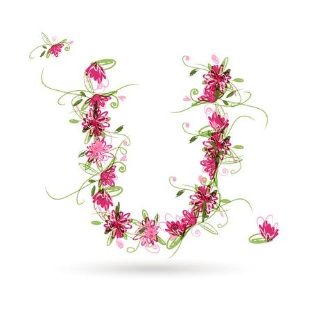 letter u: Floral letter U for your design Illustration