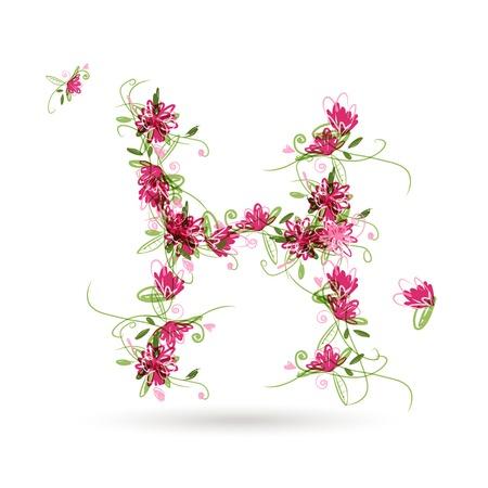 letter h: Floral letter H for your design