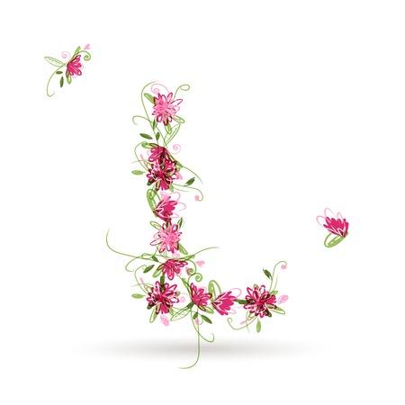 l natural: Floral letter L for your design Illustration