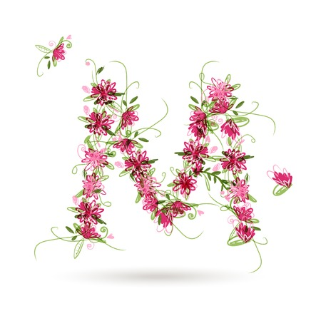 Floral letter M for your design Vector