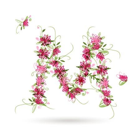 Floral letter M for your design Vector