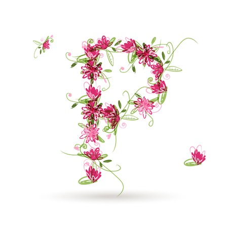 Floral letter P for your design Vector