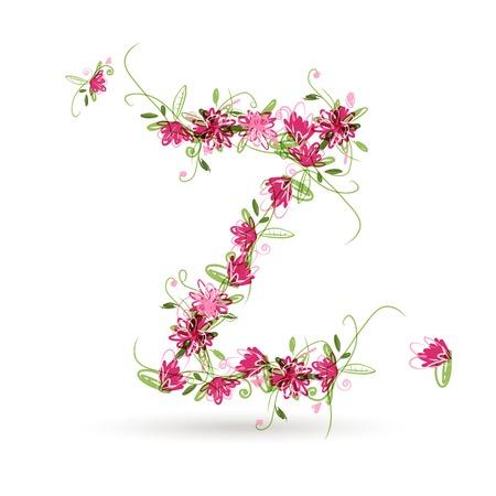 letter z: Floral letter Z for your design