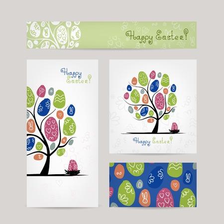 easter tree: Ontwerp ansichtkaarten met Pasen boom