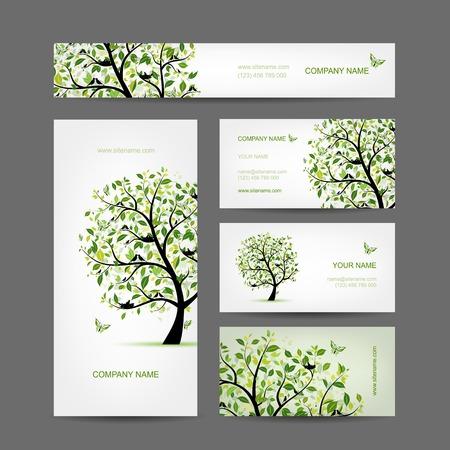 명함 디자인, 조류와 봄 나무 일러스트