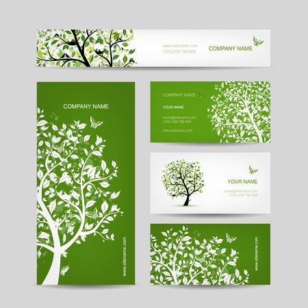 ビジネス カードのデザイン、鳥と春木  イラスト・ベクター素材