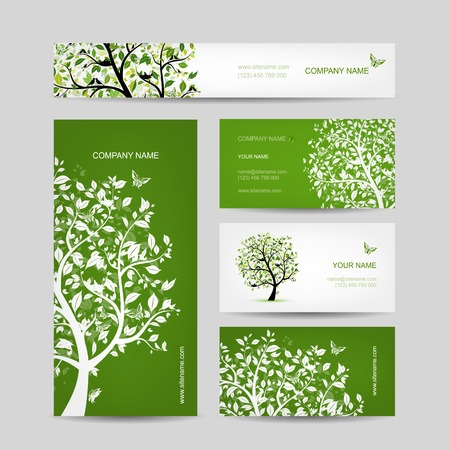 Business cards design, spring tree with birds Vector