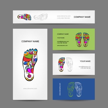 osteopathy: Business cards design, foot massage reflexology Illustration