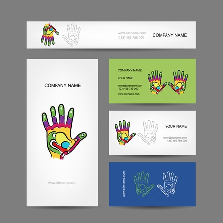 reflexology: Business cards design with hand, massage reflexology