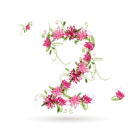 Floral number two for your design Vector