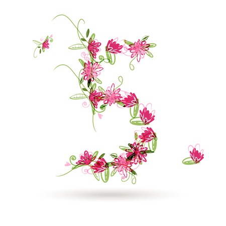 Floral number five for your design Vector