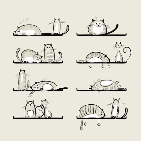 big cat: Funny cats on shelves for your design Illustration