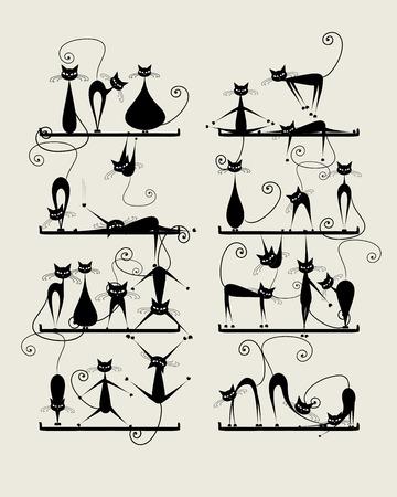 Gatos negros divertidos en los estantes para su diseño