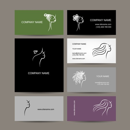 Set of business cards design, female hairstyle sketch Vector