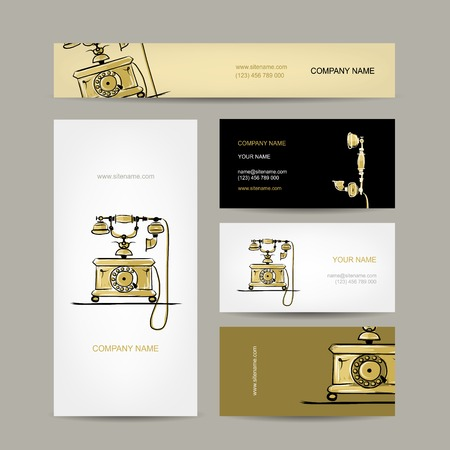 the phone rings: Retro telephone, set of business cards for your design Illustration