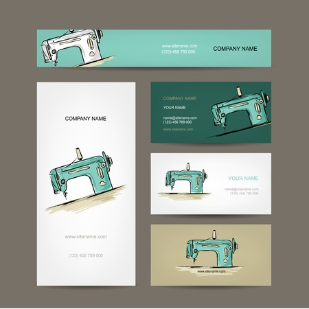 maschine: Business cards design, sewing maschine sketch