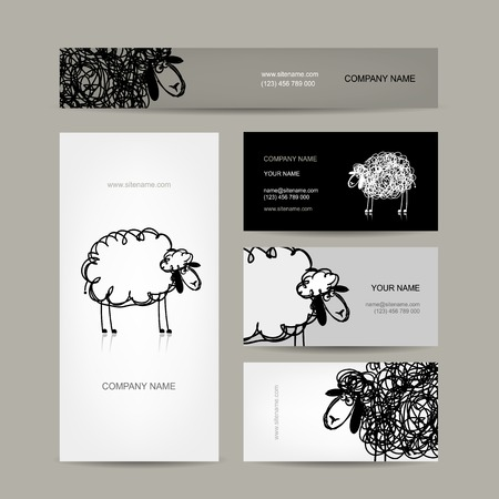 Set of business cards design, sheep sketch Vector