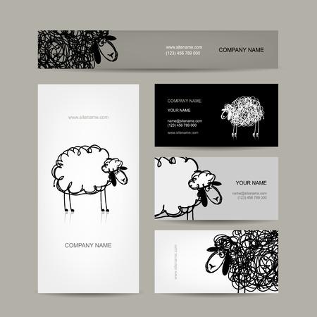 black sheep: Set of business cards design, sheep sketch