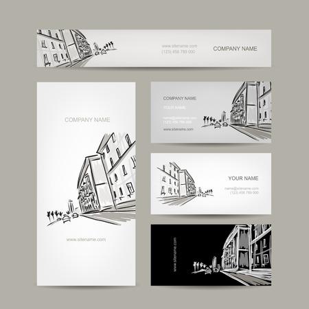 街並みスケッチとビジネス カードのデザイン