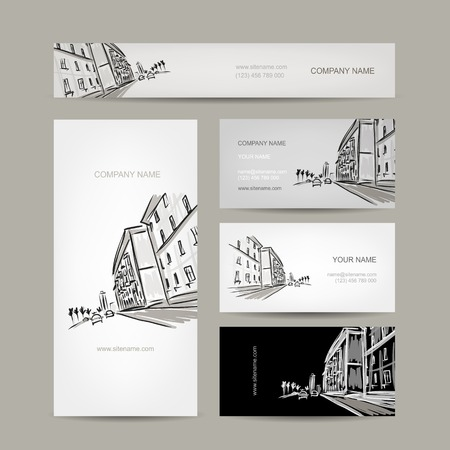 business district: Business cards design with cityscape sketch