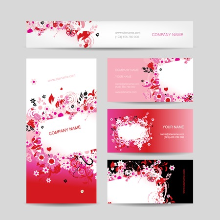 red swirl: Business cards collection, floral design
