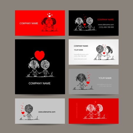 Set of business cards, couple in love together