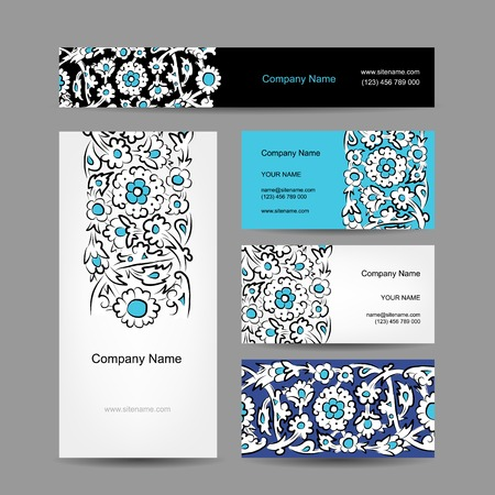 Set of business cards design, turkish ornament Vector